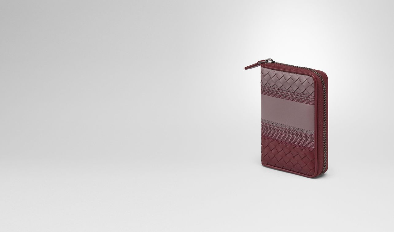 zip around wallet in glicine barolo embroidered nappa, intrecciato details landing