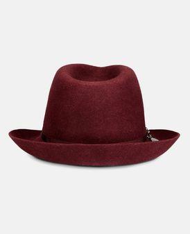 Burgundy Wool Fedora Hat