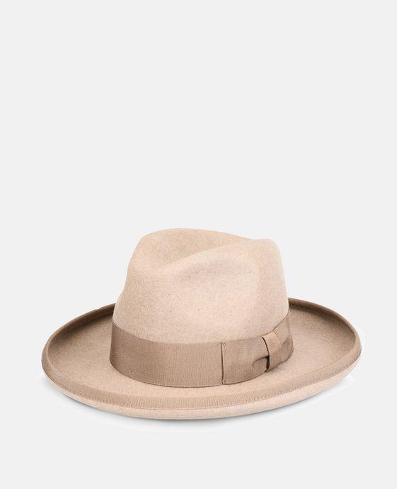 Beige Wool Fedora Hat