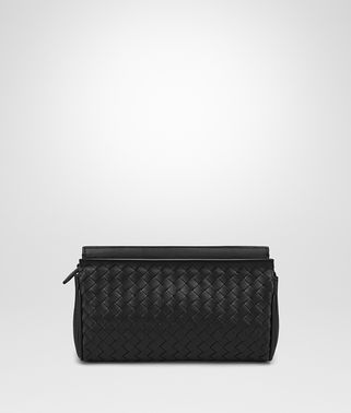 SMALL COSMETIC CASE IN NERO INTRECCIATO NAPPA