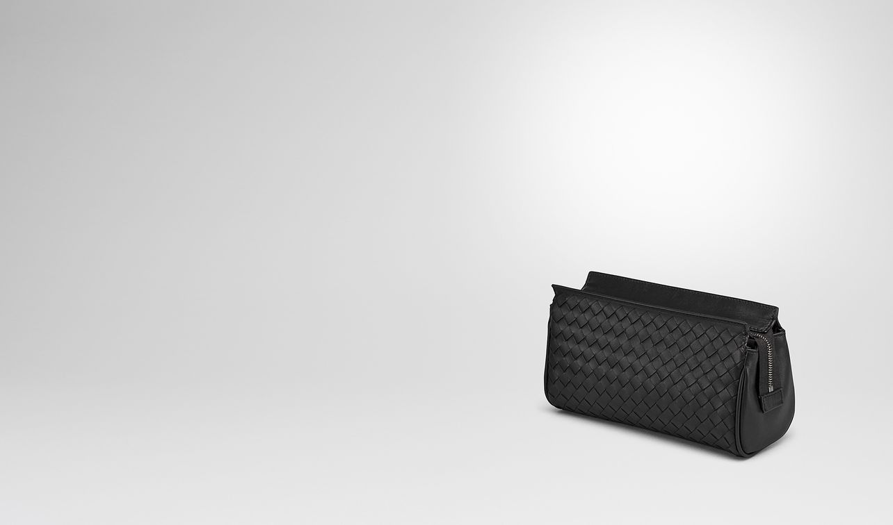 small cosmetic case in nero intrecciato nappa landing