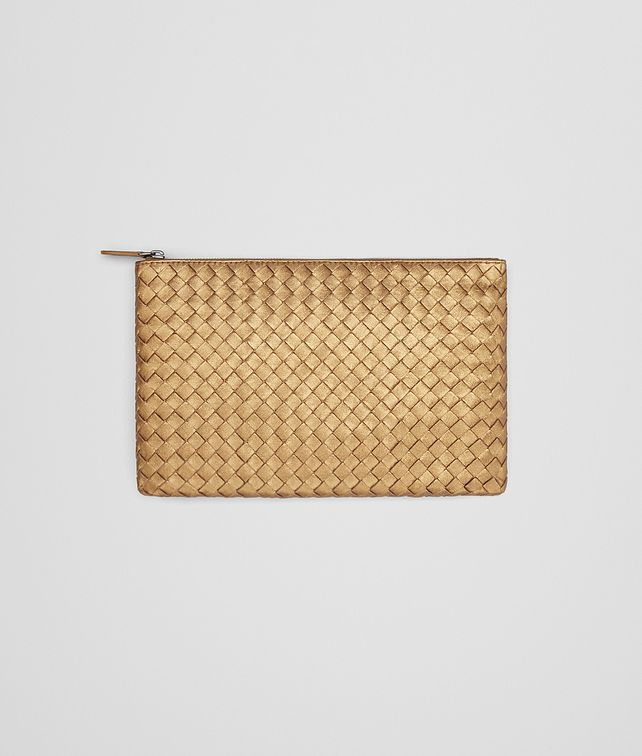 BOTTEGA VENETA MEDIUM DOCUMENT CASE IN DARK GOLD INTRECCIATO GROS GRAIN Other Leather Accessory E fp