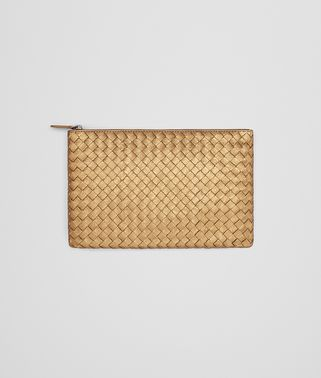 MEDIUM DOCUMENT CASE IN DARK GOLD INTRECCIATO GROS GRAIN