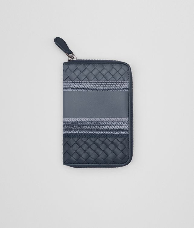 BOTTEGA VENETA ZIP AROUND WALLET IN KRIM DENIM EMBROIDERED NAPPA, INTRECCIATO DETAILS Zip Around Wallet Woman fp