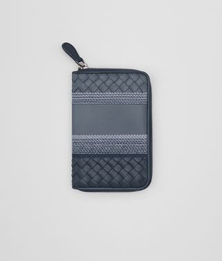 ZIP-AROUND WALLET IN KRIM DENIM EMBROIDERED NAPPA LEATHER, INTRECCIATO DETAILS