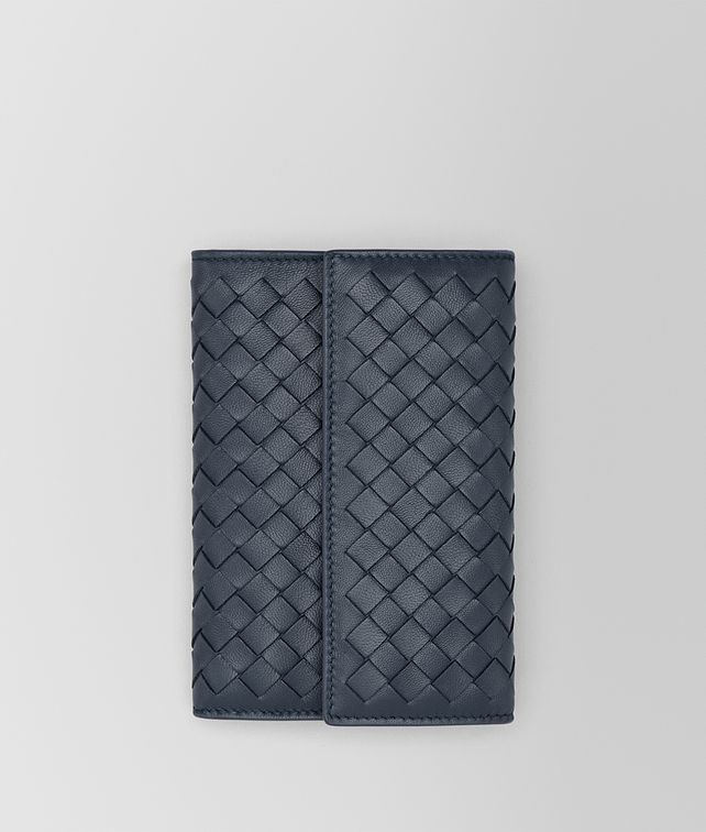 BOTTEGA VENETA CONTINENTAL WALLET IN DENIM INTRECCIATO NAPPA Continental Wallet Woman fp