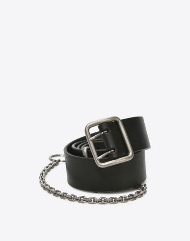 MAISON MARGIELA Belt U Calfskin belt with chain f