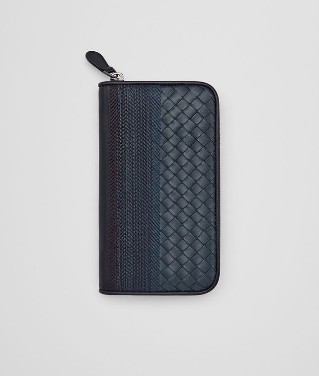 BOTTEGA VENETA ZIP AROUND WALLET IN DENIM TOURMALINE EMBROIDERED NAPPA, INTRECCIATO DETAILS Zip Around Wallet D fp