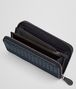 BOTTEGA VENETA ZIP AROUND WALLET IN DENIM TOURMALINE EMBROIDERED NAPPA, INTRECCIATO DETAILS Zip Around Wallet D ap