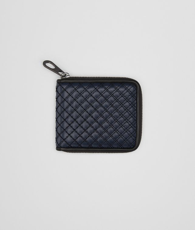 BOTTEGA VENETA ZIP AROUND WALLET IN PRUSSE EMBROIDERED CALF Bi-fold Wallet U fp