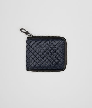 ZIP AROUND WALLET IN PRUSSE EMBROIDERED CALF