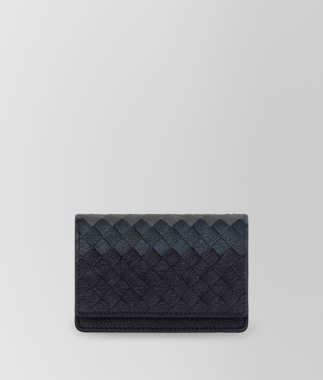 BOTTEGA VENETA SAPPHIRE BLUE INTRECCIATO LAMB CLUB LEATHER CARD CASE Card Case or Coin Purse E fp