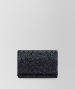 CARD CASE IN DARK NAVY DENIM ARDOISE INTRECCIATO LAMB CLUB