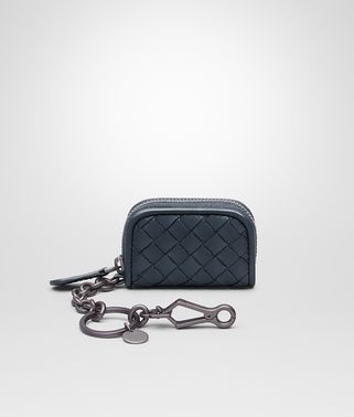 KEY RING IN DENIM INTRECCIATO NAPPA LEATHER