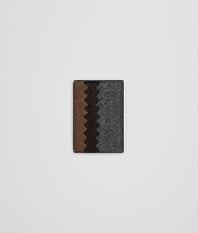 BOTTEGA VENETA CARD CASE IN ARDOISE ESPRESSO DARK CALVADOS INTRECCIATO LAMB CLUB Card Case or Coin Purse Man fp