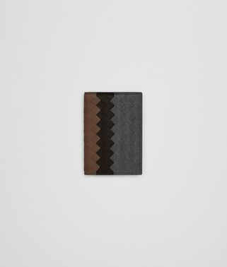 CARD CASE IN ARDOISE ESPRESSO DARK CALVADOS INTRECCIATO LAMB CLUB