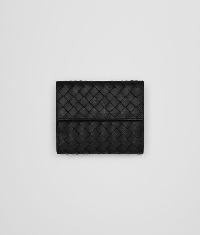 BOTTEGA VENETA MINI WALLET IN NERO INTRECCIATO NAPPA LEATHER Mini Wallet or Coin Purse D fp