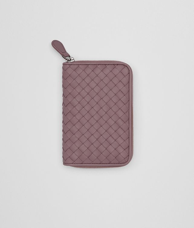 BOTTEGA VENETA ZIP AROUND WALLET IN GLICINE INTRECCIATO NAPPA Zip Around Wallet D fp
