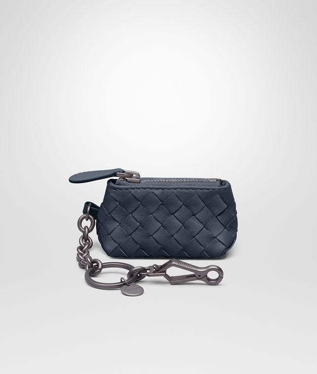 BOTTEGA VENETA KEY RING IN DENIM INTRECCIATO NAPPA LEATHER Keyring or Bracelets E fp