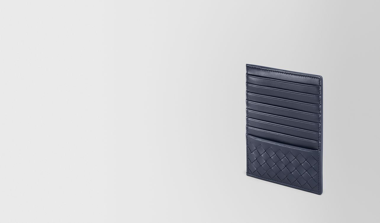 card case in denim intrecciato calf landing