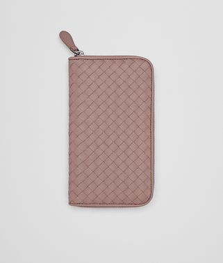 ZIP AROUND WALLET IN DESERT ROSE INTRECCIATO NAPPA
