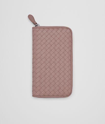 BOTTEGA VENETA Zip Around Wallet D ZIP-AROUND WALLET IN DESERT ROSE INTRECCIATO NAPPA LEATHER fp