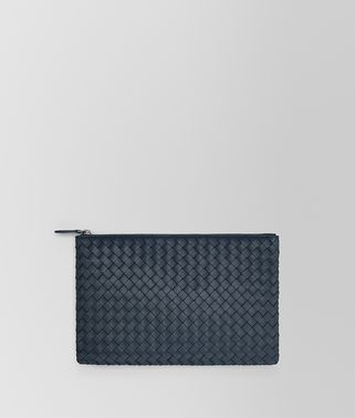 MEDIUM DOCUMENT CASE IN DENIM INTRECCIATO NAPPA