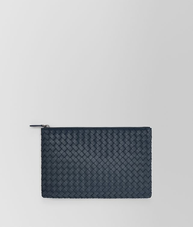 BOTTEGA VENETA MEDIUM DOCUMENT CASE IN DENIM INTRECCIATO NAPPA Pouch E fp