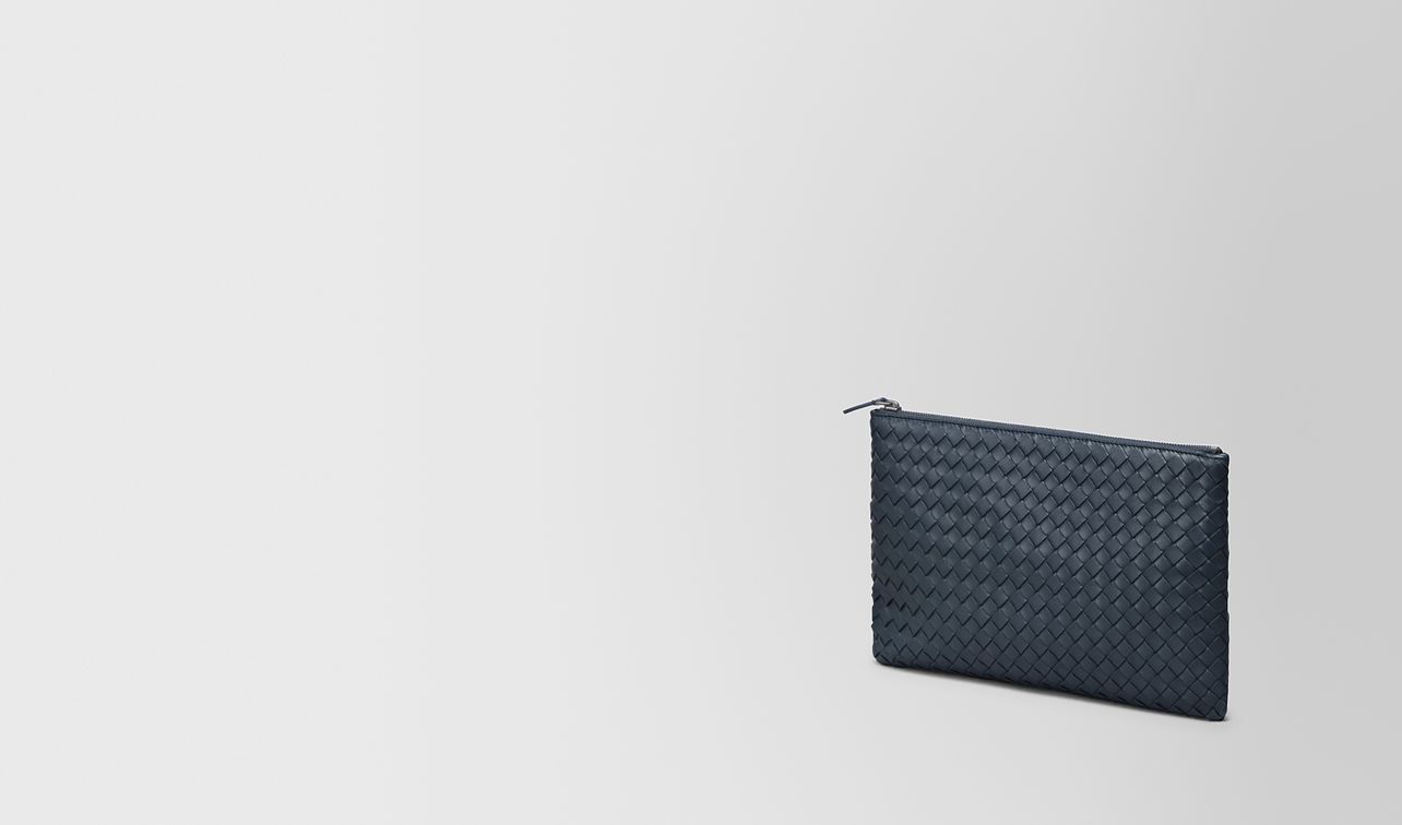 medium document case in denim intrecciato nappa landing