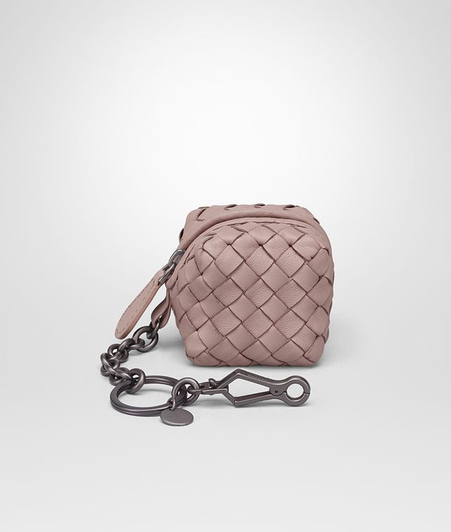 BOTTEGA VENETA KEY RING IN DESERT ROSE INTRECCIATO NAPPA LEATHER Keyring or Bracelets Woman fp