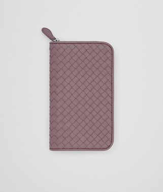 ZIP-AROUND WALLET IN GLICINE INTRECCIATO NAPPA LEATHER