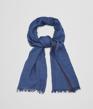 SCARF IN ROYAL CASHMERE SILK, DARK BROWN DETAIL