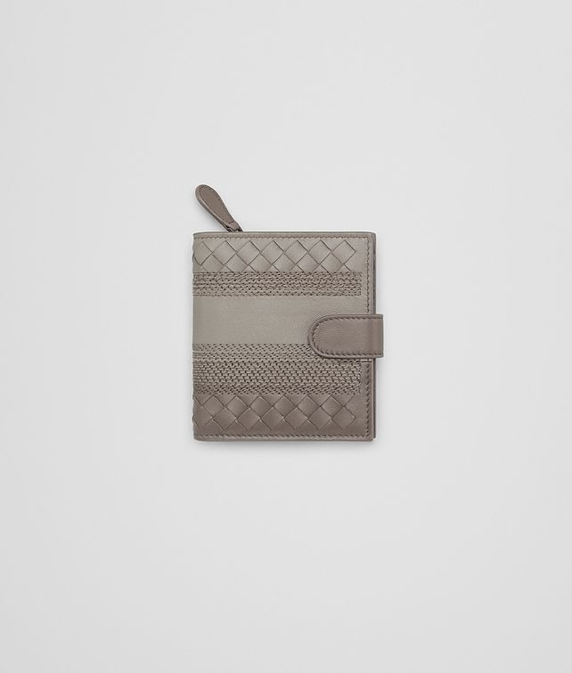 BOTTEGA VENETA MINI WALLET IN FUME' STEEL EMBROIDERED NAPPA, INTRECCIATO DETAILS Mini Wallet Woman fp