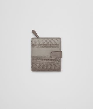 MINI WALLET IN FUMÉ STEEL EMBROIDERED NAPPA LEATHER, INTRECCIATO DETAILS