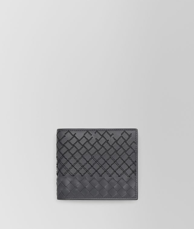 BOTTEGA VENETA BI-FOLD WALLET IN ARDOISE INTRECCIO AURELIO CALF, EMBROIDERY DETAILS Bi-fold Wallet [*** pickupInStoreShippingNotGuaranteed_info ***] fp