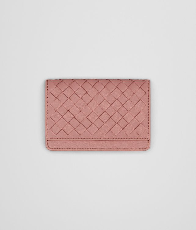 BOTTEGA VENETA CARD CASE IN BOUDOIR INTRECCIATO NAPPA LEATHER Mini Wallet or Coin Purse Woman fp
