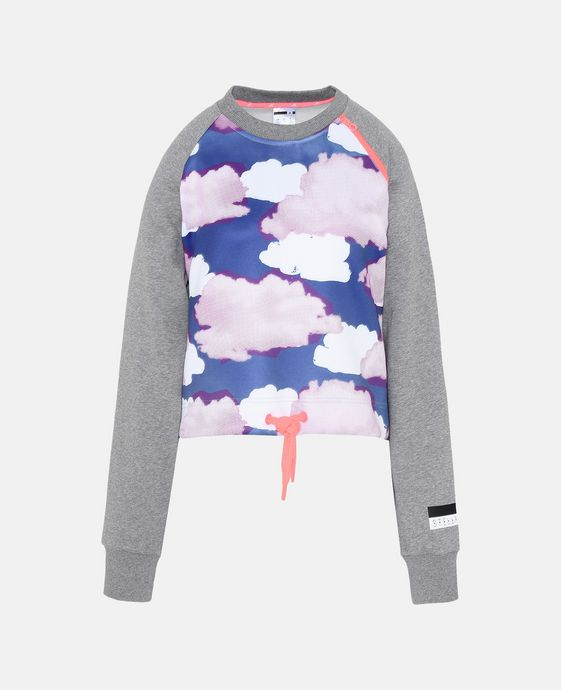Cloud Print Cropped Jumper