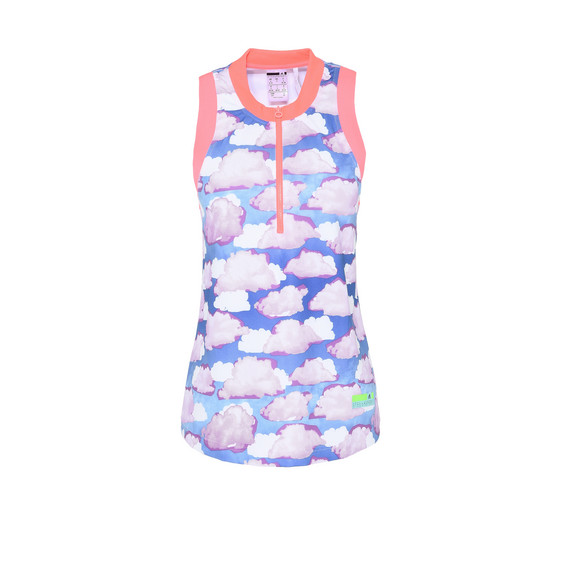Cloud Print Zipper Top