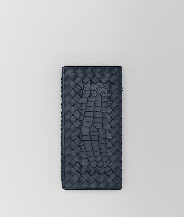 BOTTEGA VENETA CONTINENTAL WALLET IN DENIM CROCODILE AND INTRECCIATO NAPPA Continental Wallet [*** pickupInStoreShippingNotGuaranteed_info ***] fp