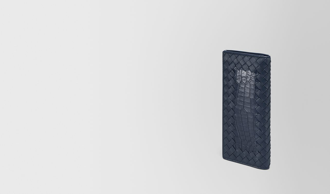 continental wallet in denim crocodile and intrecciato nappa landing
