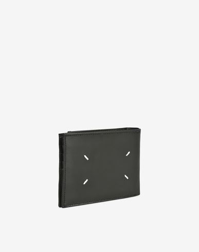 ACCESSORIES Calfskin wallet with outer coin pouch Black