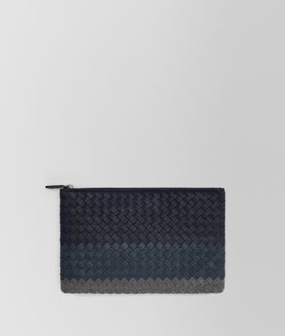 MEDIUM DOCUMENT CASE IN NEW DARK NAVY DENIM ARDOISE INTRECCIATO LAMB CLUB