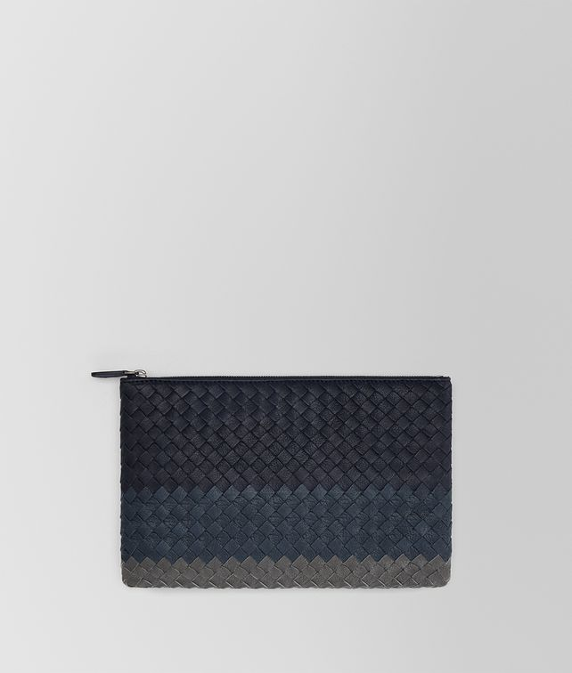 BOTTEGA VENETA MEDIUM DOCUMENT CASE IN NEW DARK NAVY DENIM ARDOISE INTRECCIATO LAMB CLUB Pouch E fp