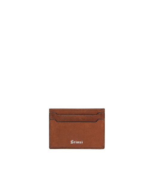 BRIONI Leather Goods U Brown Credit Card Holder f