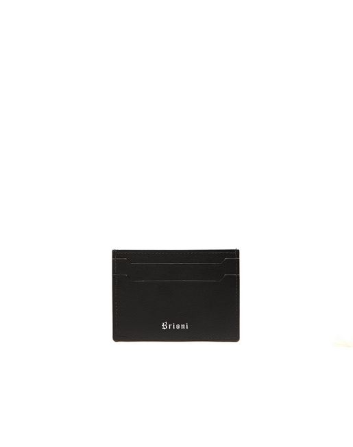 BRIONI Leather Goods U Black Credit Card Holder f