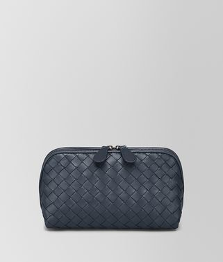MEDIUM COSMETIC CASE IN DENIM INTRECCIATO NAPPA