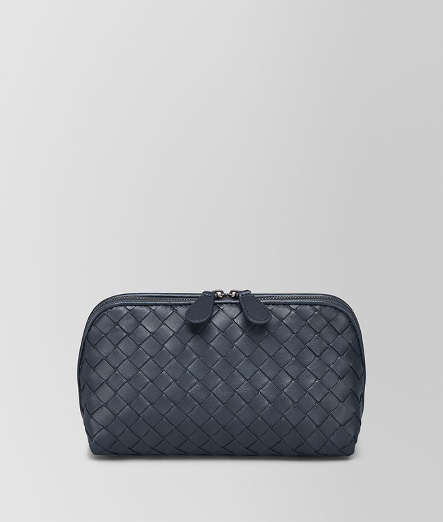 BOTTEGA VENETA MEDIUM COSMETIC CASE IN DENIM INTRECCIATO NAPPA Other Leather Accessory Woman fp