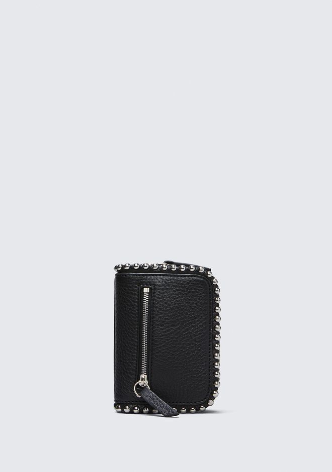 ALEXANDER WANG accessories MINI FUMO WALLET IN PEBBLED BLACK WITH BALL STUDS