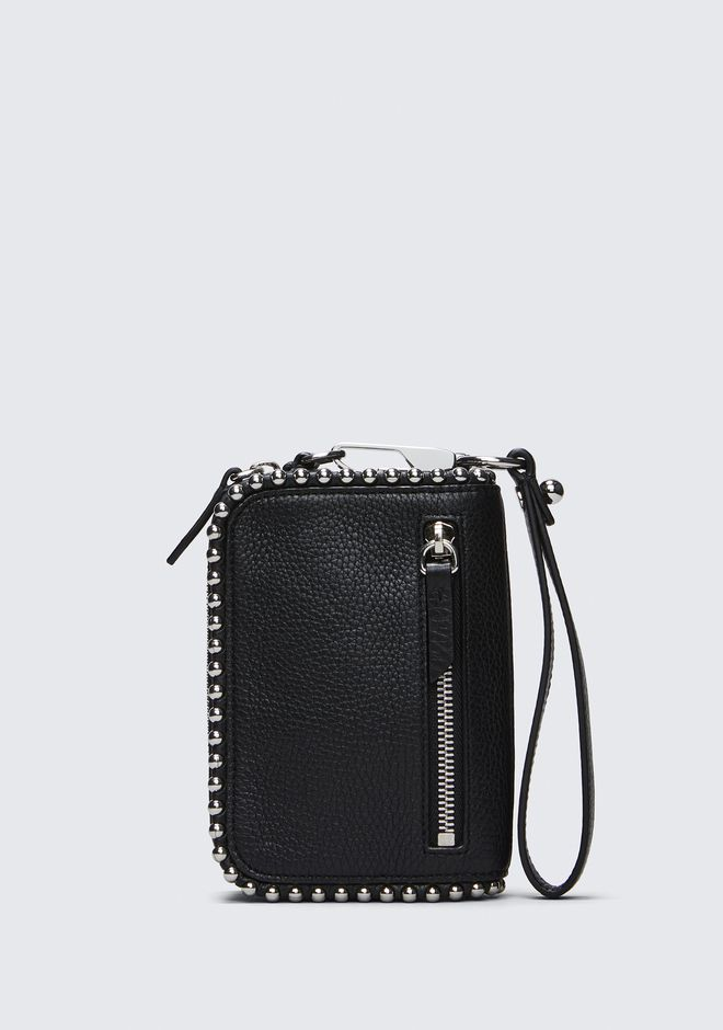 ALEXANDER WANG accessories LARGE FUMO WALLET IN PEBBLED BLACK WITH BALL STUDS