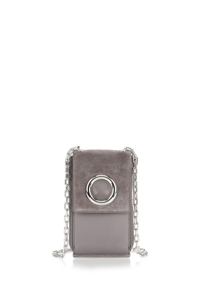 ALEXANDER WANG new-arrivals-accessories-woman RIOT SHOULDER WALLET IN GREY SUEDE WITH RHODIUM